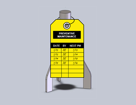 Illustration of industrial mixer steady bearing with Preventive maintenance log