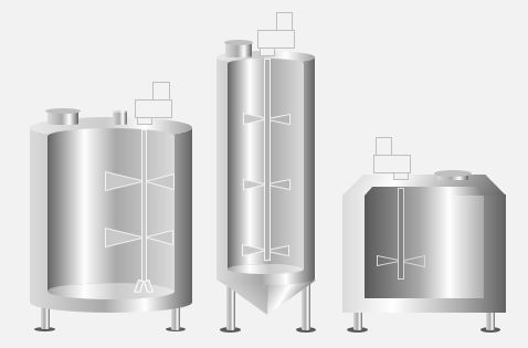 illustration of 3 industrial mixing tanks