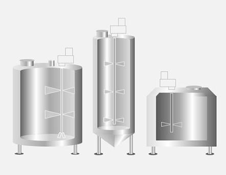 Illustration of three industrial mixing tanks