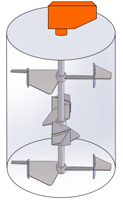 Illustration of Proquip doubly-pitched tank agitator impellers
