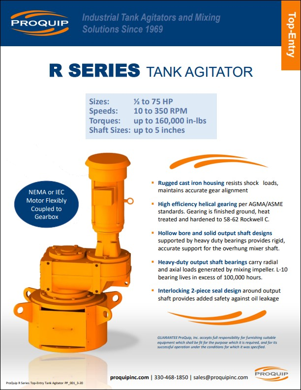 ProQuip R Series Top-Entry Tank Agitator Product Profile Image